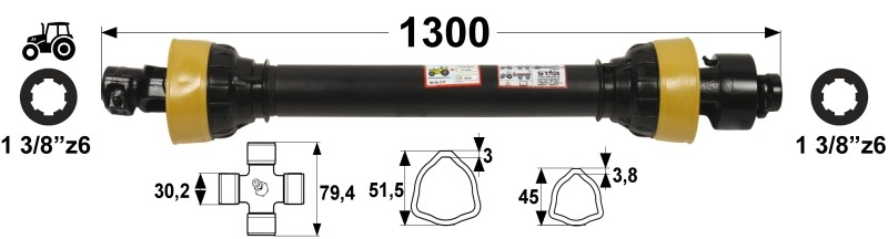 KARDAN T45 L=1300 mm S SKLOPKO PROSTOTEKOČO DESNI PROSTI TEK