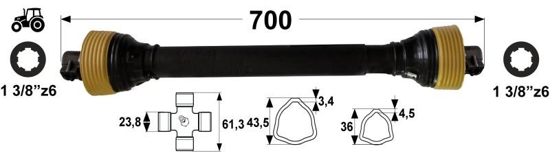KARDAN T2 L= 700 mm DIREKTNI