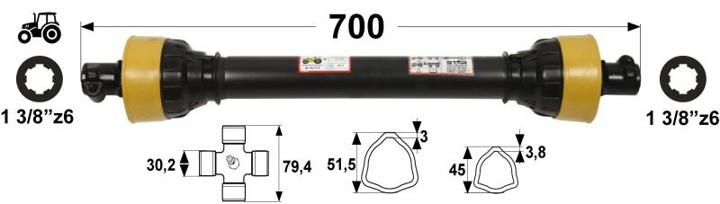 KARDAN T45 L= 700 mm DIREKTNI