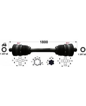KARDAN X7 L=1800 mm DIREKTNI Z DVEMA  ŠIROKOKOTNIMA  ZGLOBOMA 80°