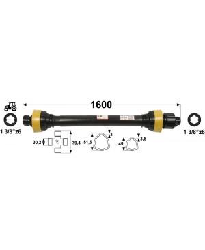KARDAN T45  L=1600 mm S SKLOPKO ZVEZDASTO 1500 Nm