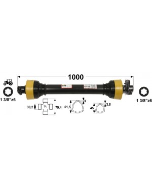 KARDAN T45  L=1000 mm S SKLOPKO STRIŽNO 2200 Nm