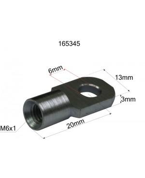 PRIKLJUČEK AMORTIZERJA TANKI (ALU) (notranji navoj M6,FI luknje 6mm,debelina 3mm)