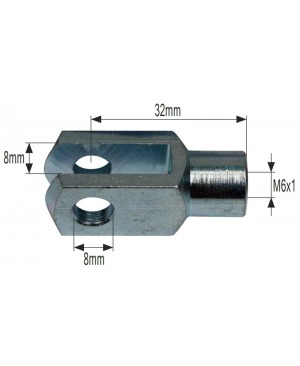 VILICA AMORTIZERJA (ALU) (notranji navoj M6,FI luknje 8mm, razmak med luknjami 8mm)